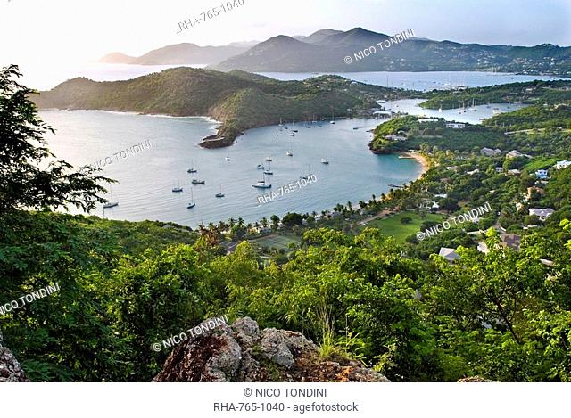 View of Falmouth Harbour from Shirley Heights, Antigua, Leeward Islands, West Indies, Caribbean, Central America
