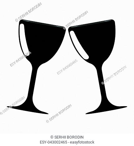 Bowl and glass two items icon vector illustration icon black color vector illustration isolated
