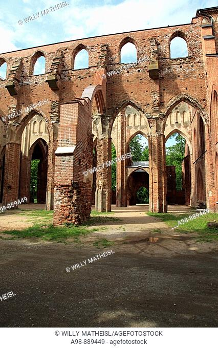 Ruins of the old Toome Cathedral (also called Saints Peter and Paul cathedral) on Toome Hill, city of Tartu, Estonia, Baltic State, Eastern Europe