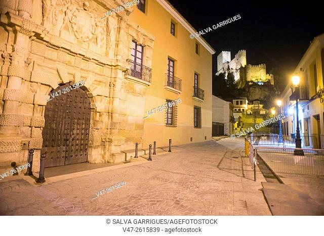 Night photography of the City of Almansa, Palace of the Counts of Cirat, Plaza de Santa Maria, Almansa, Albacete, Castilla La Mancha, Spain, Europe
