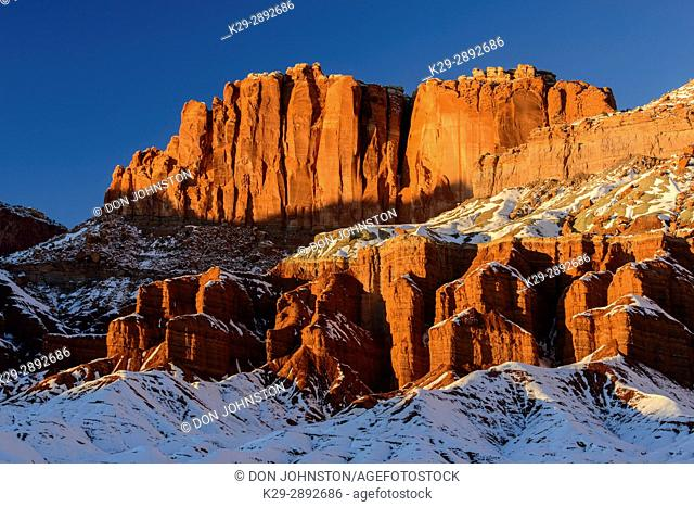 Fresh snow on the Rim Rock formations, Capitol Reef National Park, Utah, USA