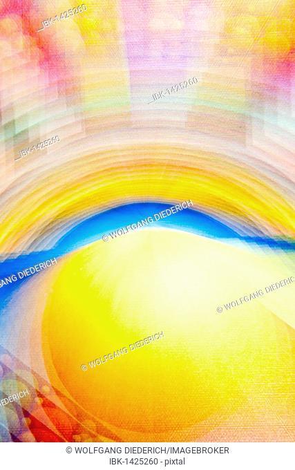 Acrylic painting on sunrise, blurred, artist Gerhard Kraus, Kriftel