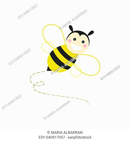 Isolated happy bee flying on a white background. Vector illustration