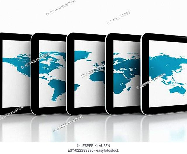 Tablets and world map