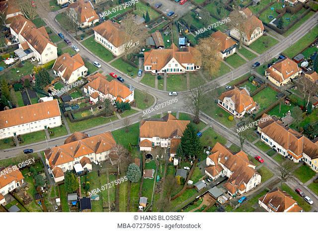 Aerial view, Teutoburgia miners settlement, Herne, Ruhr area, North Rhine-Westphalia, Germany, Europe