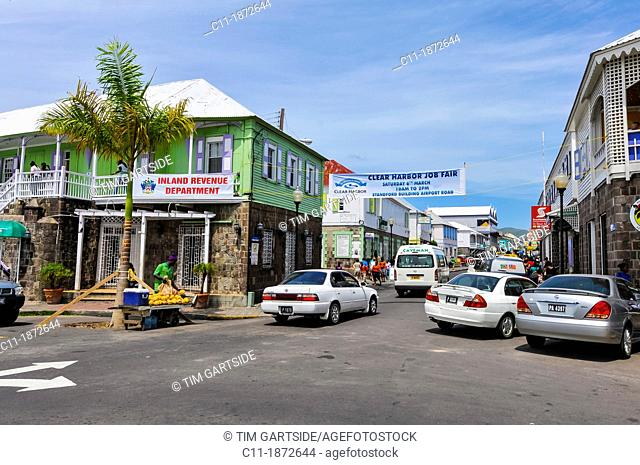 Caribbean, Saint Kitts and Nevis, Basseterre, Street scene