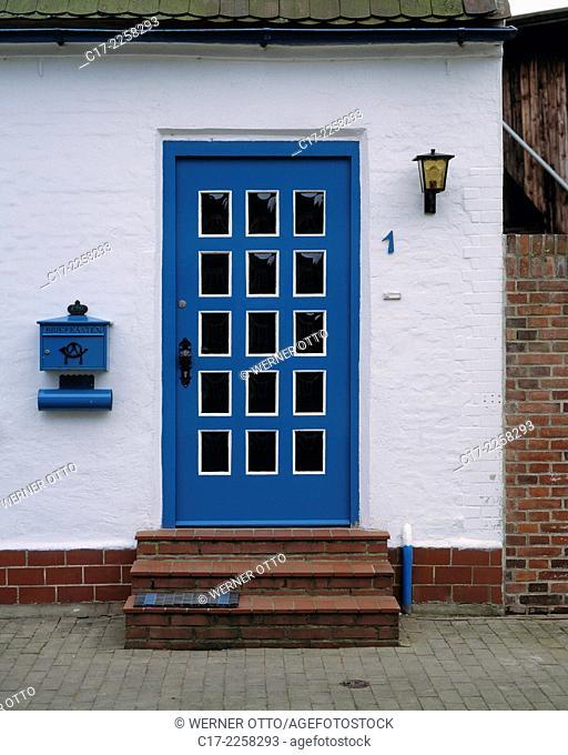 Germany, Friedrichstadt, Eider, Treene, Schleswig-Holstein, residential building, front door, letterbox