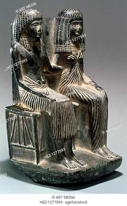 Statue of an Ancient Egyptian official and his wife, 13th-12th century BC. From the collection of the Metropolitan Museum of Art, New York