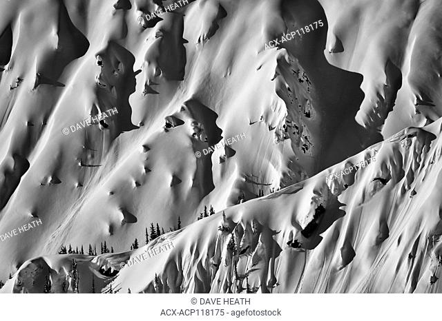 Texas Peak with snow drifted, in Black and white, at Retallack, BC, Canada
