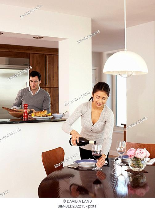 Couple preparing dinner together