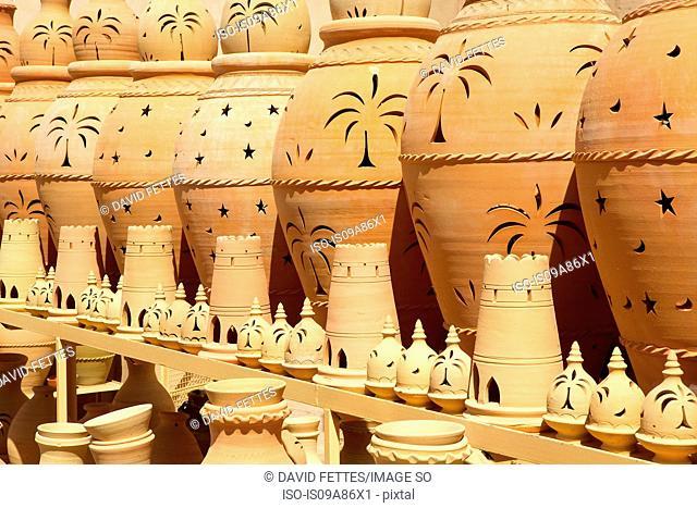 Terracotta pots in Nizwa Castle. Nizwa, Oman