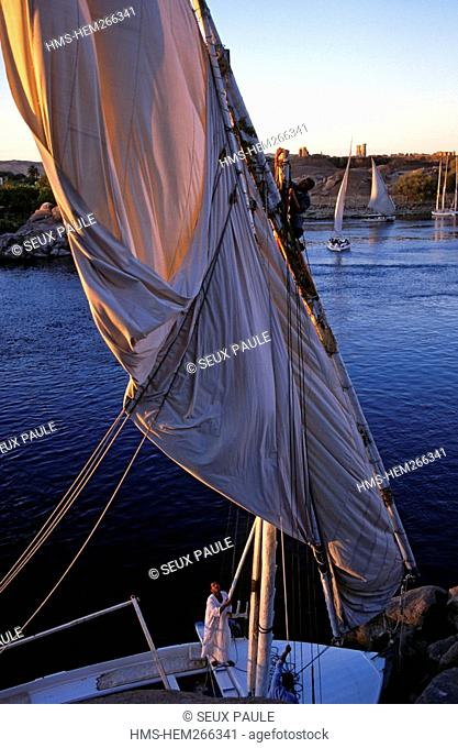 Egypt, Upper Egypt, Nile Valley, Aswan, feluccas on Nile River