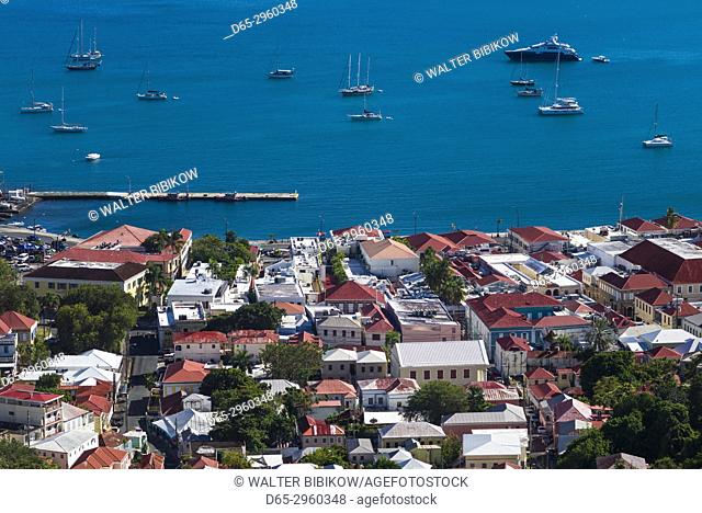 U. S. Virgin Islands, St. Thomas, Charlotte Amalie, elevated town view