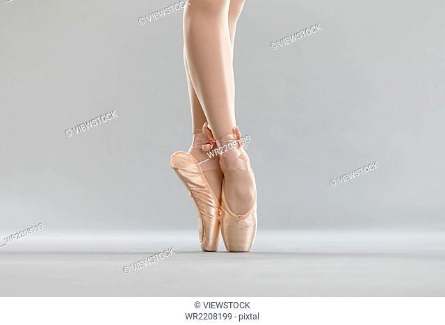 The ballet dancers are dancing