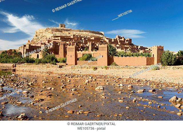 Ait Benhaddou with shallow water of Ounila River or Wadi Mellah near Ouarzazate Morocco
