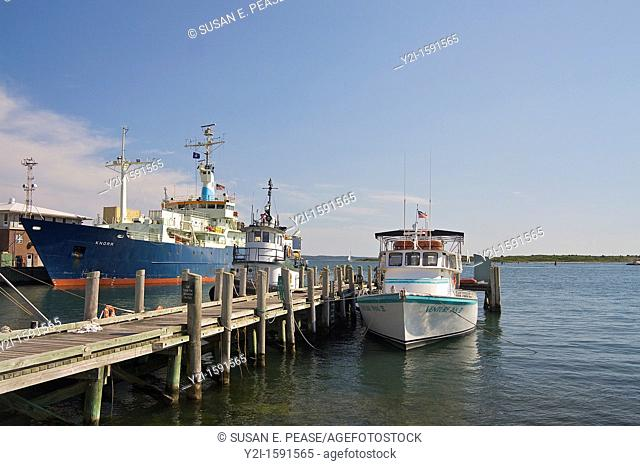 Boats in the Cape Cod village of Woods Hole, including the Woods Hole Oceanographic Institute's Knorr research vessel, to the left  Woods Hole, Falmouth