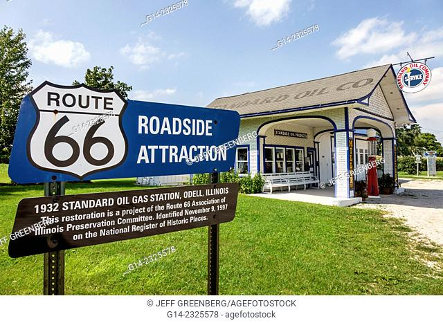 Illinois, Odell, Historic Route 66, 1932 Standard Oil Gas Station, petrol, sign, roadside, information