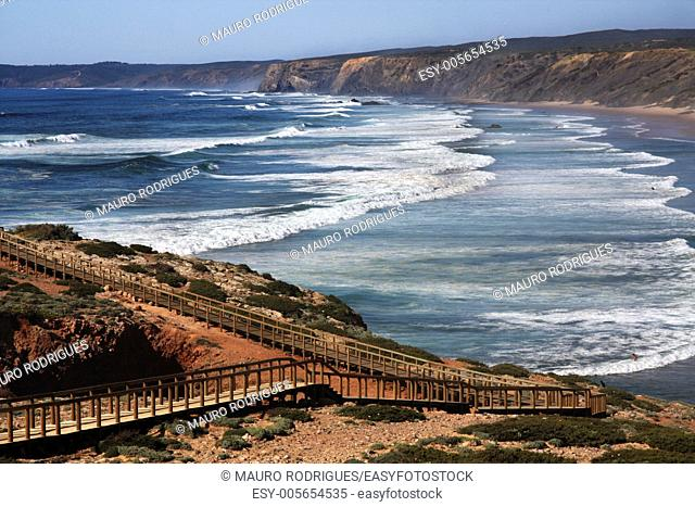 Wide view of the Carrapateira coastline near Sagres, Portugal