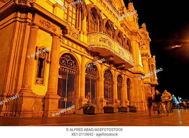 Port Authority building at night, Port Vell, Barcelona, Catalonia, Spain