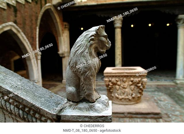 Close-up of the sculpture of a lion on a banister, Venice, Veneto, Italy