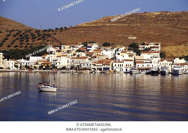 View of Korissia, houses, boats and mountains Kea, Cyclades, Greece