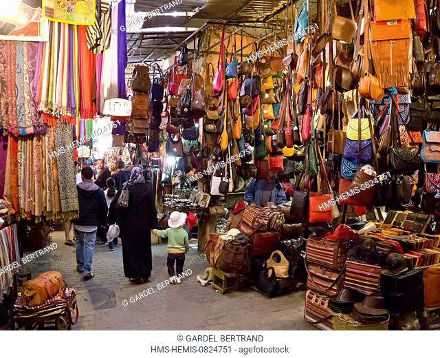 Morocco, Upper Atlas, Marrakech, imperial city, the medina listed World Heritage by UNESCO, the souks