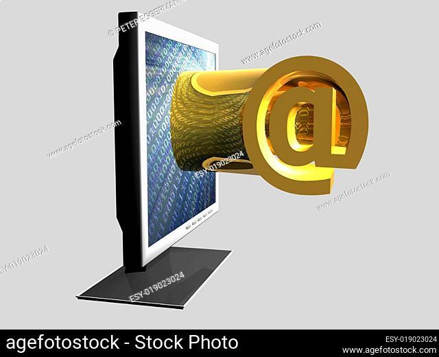 Monitor - At-Zeichen - 3D