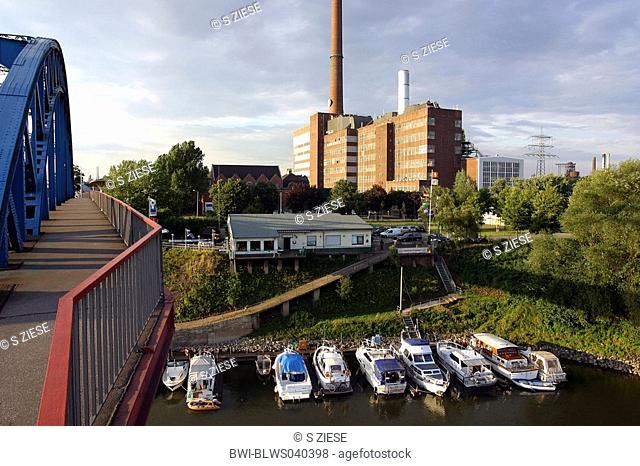 View on the railway harbour and the Thyssen-Factory Ruhrort, Germany, North Rhine-Westphalia, Ruhr Area, Duisburg