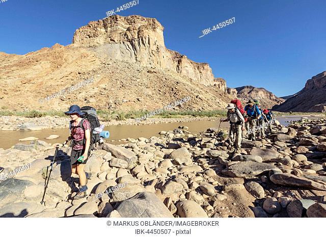 Hikers near Fish River, Fish River Canyon, Namibia