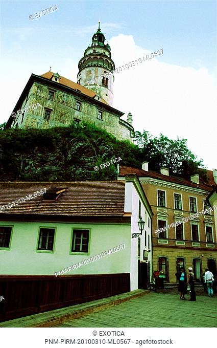 Low angle view of a castle, Cesky Krumlov Castle, Cesky Krumlov, South Bohemian Region, Czech Republic