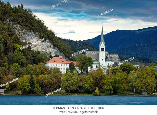 Evening over St Martin's Parish Church along Lake Bled, Bled, Upper Carniola, Slovenia