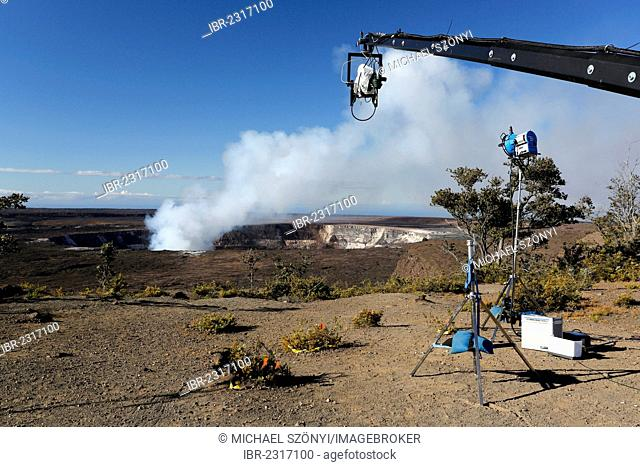 Camera rig, BBC2 Volcano Live 4-4 Broadcast, Kilauea Overlook, Hawaii Volcanoes National Park, Big Island, Hawaii, USA
