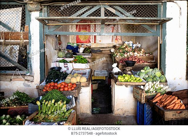 Fruits and vegetables stand. Nouvelle ville market. Fez, Morocco