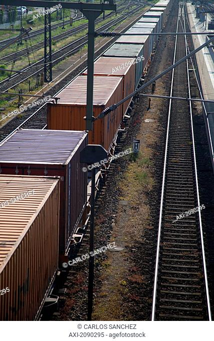 View Of Goods Trains On Railway Tracks At Europe, Germany, Ratisbon, Regensburg, Southern Germany, Upper Palatinate