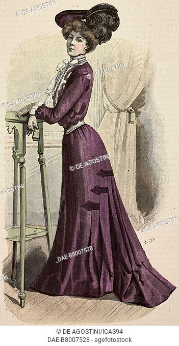 Woman wearing an autumn dress, modern cut skirt and a felt hat with ostrich feathers, creation by Mademoiselle Louise Piret, engraving from La Mode Illustree