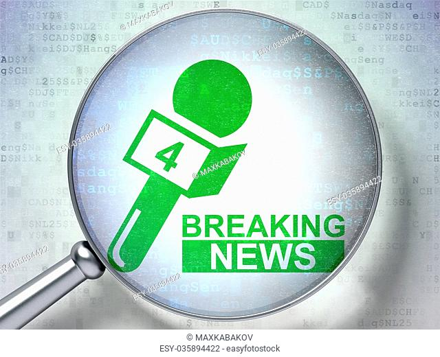 News concept: Breaking News And Microphone with optical glass on digital background