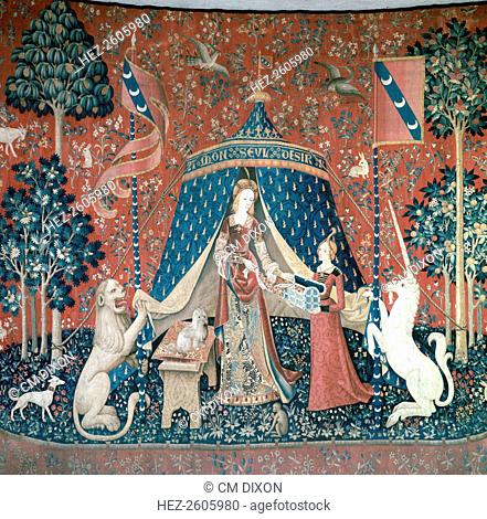 La Dame A La Licorne, part of a tapestry series made in Brussels. Now in the Musee de Cluny, Paris, 15th century