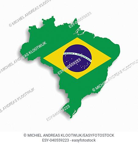 Map of brazil with flag inside, isolated