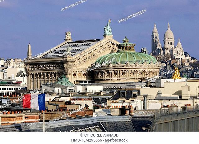 France, Paris, Garnier opera-house and the Sacre-Coeur