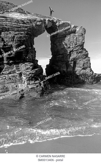 Arch Rock on the beach of Cathedrals, Lugo, Galicia