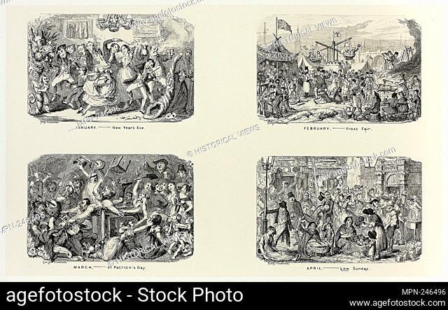 January – New Year's Eve from George Cruikshank's Steel Etchings to The Comic Almanacks: 1835-1853 (top left) - 1838, printed c