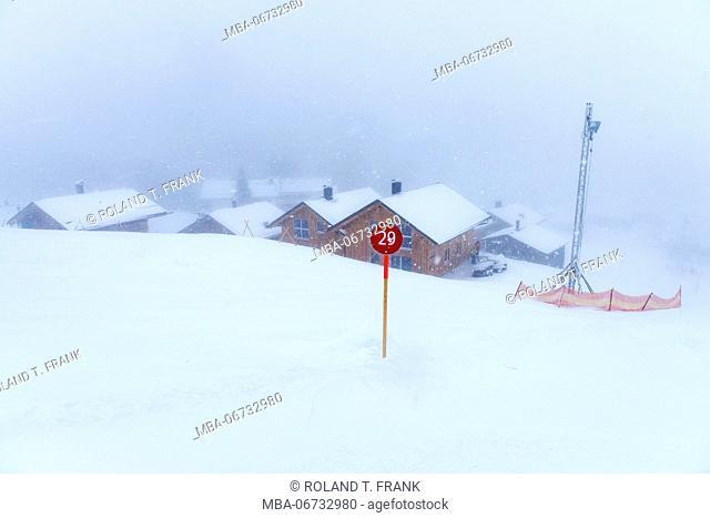 Austria, Montafon, Garfrescha, numbering of the ski slopes in the alp village