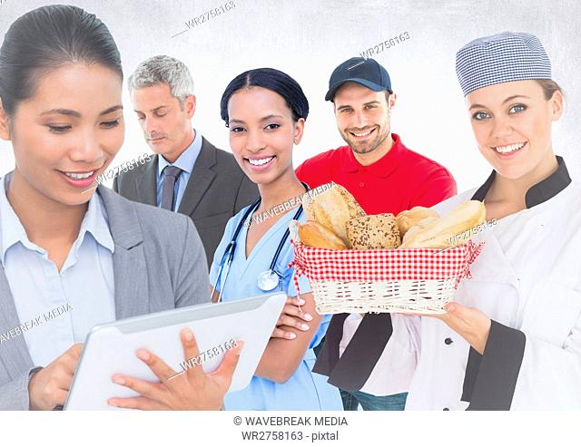 Business woman and man, doctor, chef and delivery man against white background