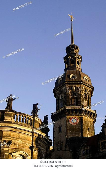 Germany, Saxony, Dresden, Theatre square, castle, Court Church