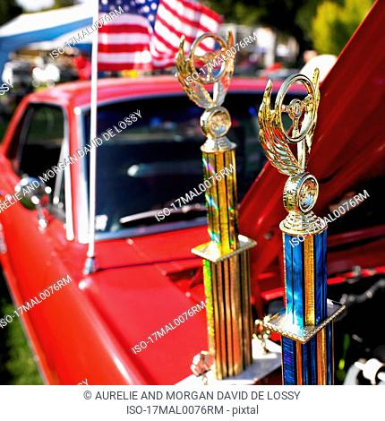 Trophies on car