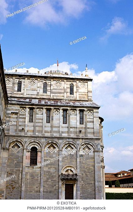Low angle view of architectural details of a cathedral, Pisa Cathedral, Piazza Dei Miracoli, Pisa, Tuscany, Italy