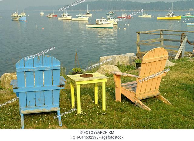 Stonington, ME, Maine, Deer Isle, fishing harbor, adirondack chairs