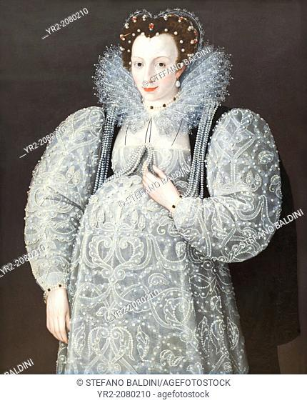 Portrait of an unknown lady, about 1595, attributed to Marcus Gheeraerts, 1561-1636, oil on wood, Tate modern, London, England