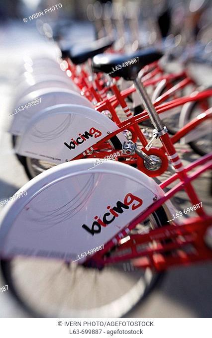 'Bicing' (Municipal self-service rental bikes). Barcelona. Catalonia. Spain. Selective focus image