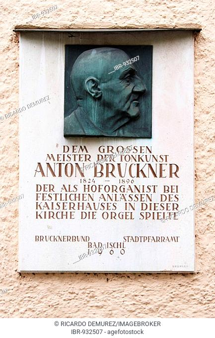 Commemorative plaque to Anton Bruckner on the outer wall of Bad Ischl Church, Upper Austria, Europe
